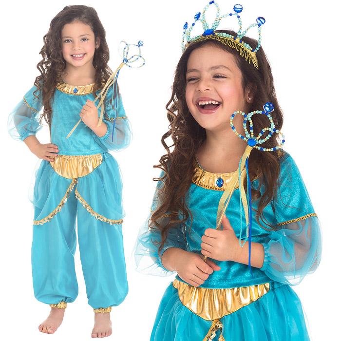 c03b705b9 トップスとパンツがセットになったプリンセスコスチュームです。 ターコイズブルーと金色が、とても高貴な雰囲気で、アラビアのお姫様のイメージにぴったり!